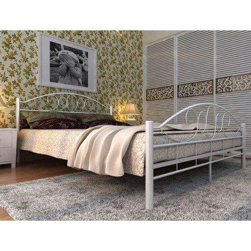 Bed met traagschuim matras metaal wit 180x200 cm