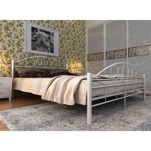 Bed met traagschuim matras metaal wit 140x200 cm