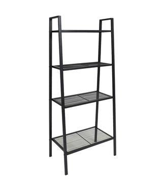 Ladder boekenkast 4 schappen metaal zwart