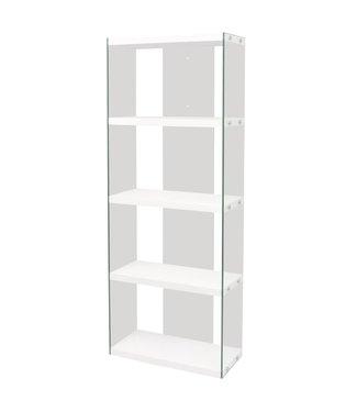 Boekenkast met 4 schappen glas MDF hoogglans wit