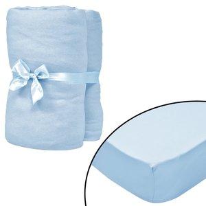 Hoeslaken wiegje 4 st 60x120 cm katoenen jersey stof lichtblauw