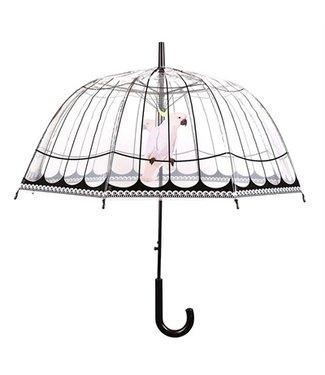 Merkloos Paraplu vogelkooi transparant / zwart