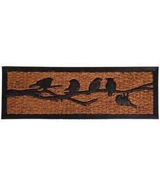 Merkloos Deurmat vogels op tak rubber / kokosvezel
