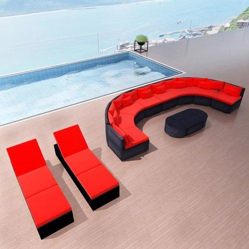 13-delige Loungeset met kussens poly rattan rood