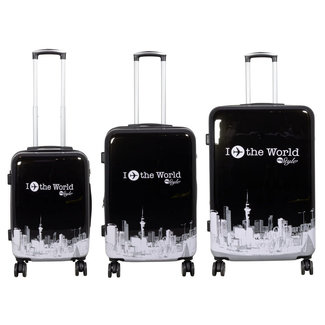 travelsuitcase 3 delig kofferset Fly The World Black