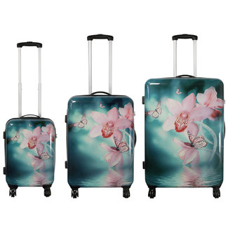 travelsuitcase 3 delig koffer set - orchidee