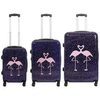 travelsuitcase 3 delig kofferset Flamingo