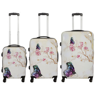travelsuitcase 3 delig kofferset Butterfly