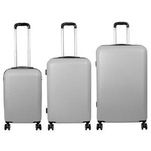 travelsuitcase 3 Delig kofferset Trump ABS Zilver