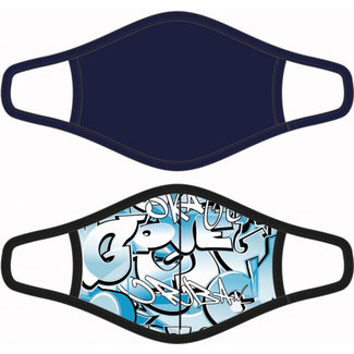 Beeren mondkapjes Graffiti jongens Oeko-Tex 100 blauw 2 stuks
