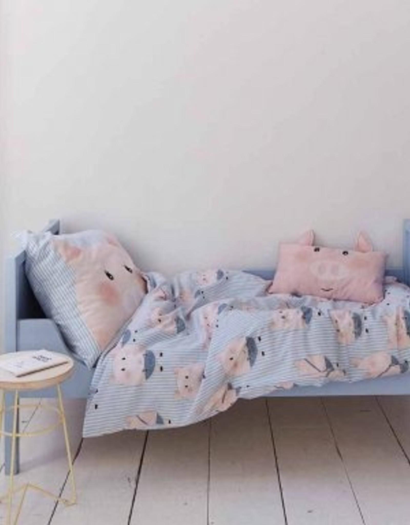 Covers & Co Kinderdekbedovertrek Covers & Co Piggy Blue 120 x 150 cm
