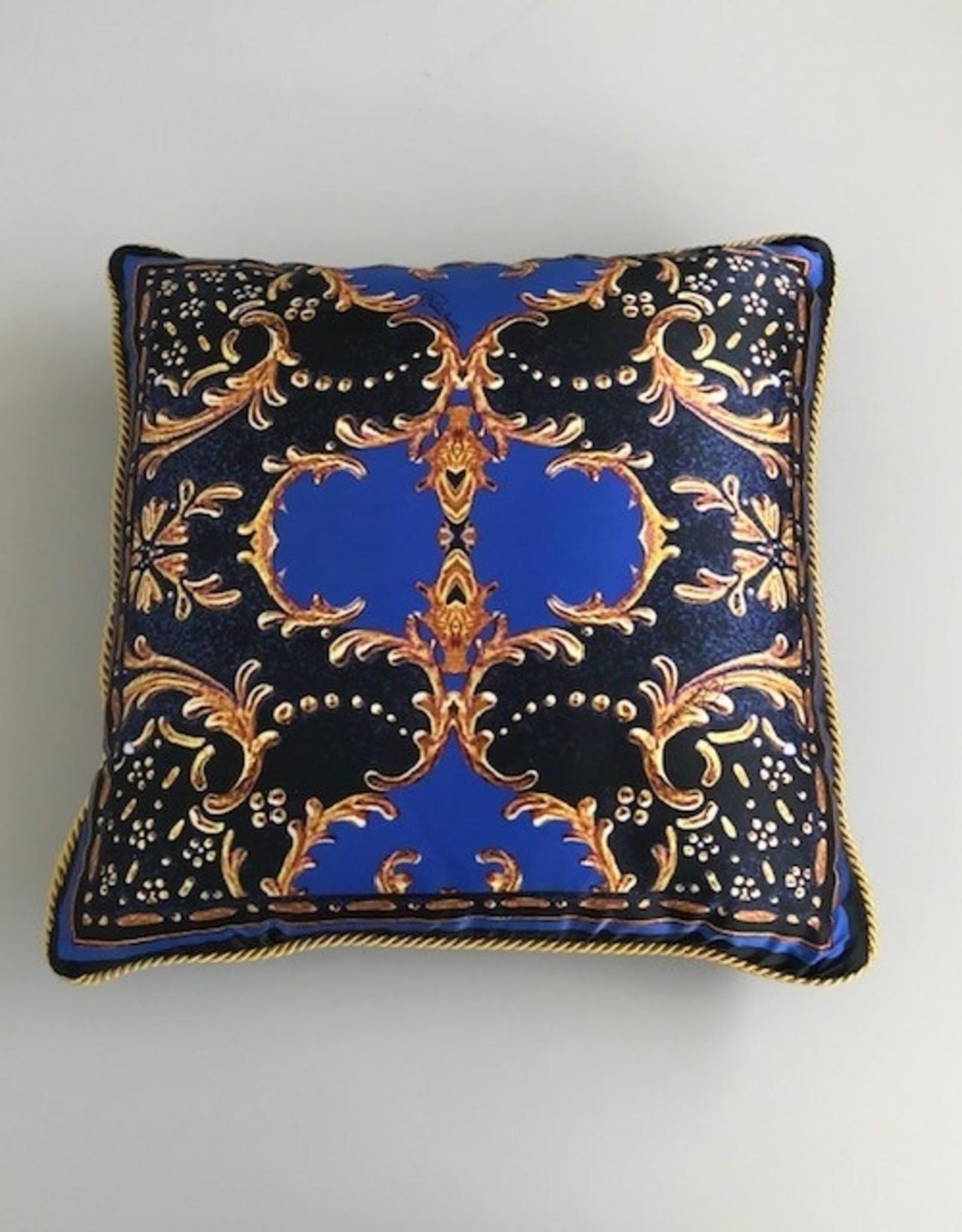 Roberto Cavalli Sierkussen Roberto Cavalli Gold Flowers Silk Blue