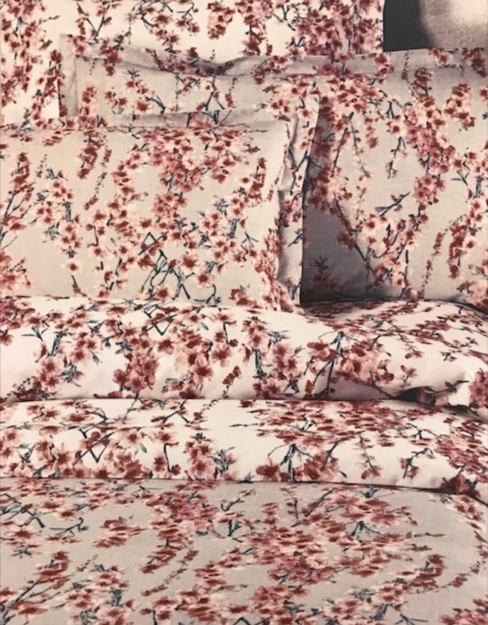 Mirabello Lakenset Mirabello Peach Flower White/Pink Flanel