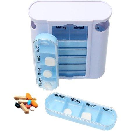 Pillendoos – Medicatie Bewaardoosje – Medicijnen Bewaardoosje 7 dagen – Met morgen, Middag, Avond en Nacht – Blauw