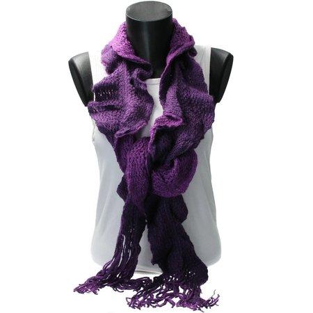 Banzaa Sjaal van Acryl Zijdezacht – Unieke gedraaide gehaakte Sjaal 20x200cm – Paars