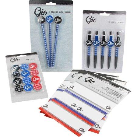 GIO Gio Schoolpakket met Potloden, Gummen, Pennen en Zelfklevende Schooletiketten – 19x3x1cm | Schoolspullen | Teken en Schrijfwaren