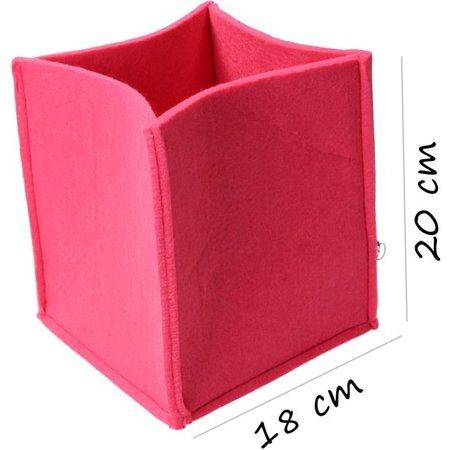 Present Time Present Time Opbergmand Mellow Vilt 3 Formaten – Stijlvolle en Unieke Opberger – Bureau Mand – Opberg Box – Raspberry Pink