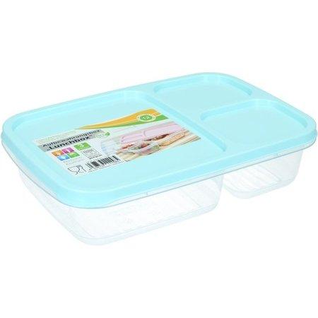 Banzaa Lunchbox met Deksel 1,2 liter – Voedselbak – Vaatwassergeschikt – Met drie Vakken – Blauw