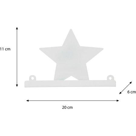 Redhart Wandplankje met met Muurstickers voor in de Kinderslaapkamer Witte ster – 11x20x6cm | Houder voor aan de Muur | Metalen Wandhanger met 2 Stickervellen | Muurhanger