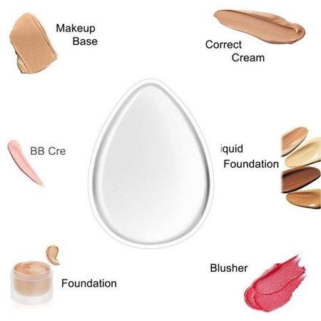 Beauty Essentials Premium Tweezijdige Make-up Siliconenspons voor Vloeibare Make Up en Poeder – Eivormig – 6x4cm – Wit