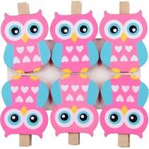 Premium 6-Pack Uilen Kaartknijpers - Roze Blauw