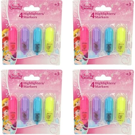 Disney Frozen Disney Princess 16x Mini Markeerstiften voor Kinderen | Felle Tekstmarkers in 4 Kleuren voor Meisjes | Highlighters | Markers