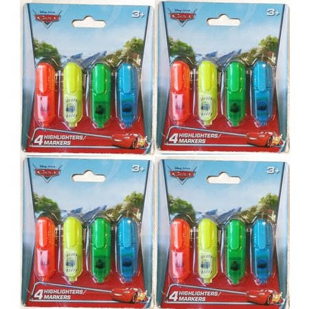 Disney Cars Disney Cars 16x Mini Markeerstiften voor Kinderen | Felle Tekstmarkers in 4 Kleuren voor Jongens | Highlighters | Markers