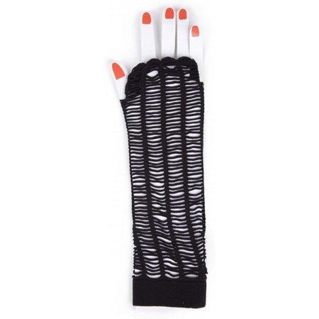 MB-Muller MB-Müller Lange Vingerloze Net Handschoenen – 25x8cm – Zwart – One Size