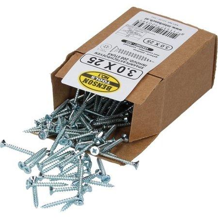 Benson Benson Tools Spaanplaatschroeven 200 Stuks Verzinkt – 3.0x25mm | Spaanplaat Schroeven voor Verwerking in Dragende Houtconstructies