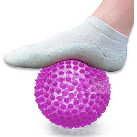 Banzaa Massage Bal groot – Ontspannen Handen en Voeten  – 19cm | Hoge Dichtheid Massagestekels | Stekelig Plastic Massage Apparaat voor Ontspanning | Massagebal met Stekels | Lacrosse Bal – Oranje