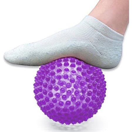 Massage Bal groot – Ontspannen Handen en Voeten  – 19cm | Hoge Dichtheid Massagestekels | Stekelig Plastic Massage Apparaat voor Ontspanning | Massagebal met Stekels | Lacrosse Bal – Paars