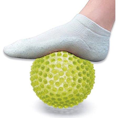 Banzaa Massage Bal groot – Ontspannen Handen en Voeten  – 19cm | Hoge Dichtheid Massagestekels | Stekelig Plastic Massage Apparaat voor Ontspanning | Massagebal met Stekels | Lacrosse Bal – Geel