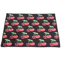 Badmat met Kersen en Skulls 60x45cm  Zwart, Rood