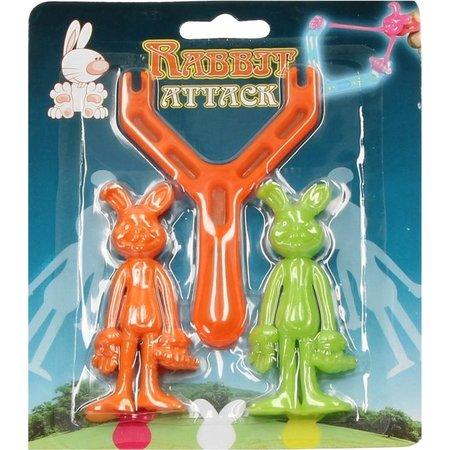Banzaa Rabbit Attack Rubberen Katapultpoppetjes 2 Stuks – 8x3x1cm | Speelgoed Katapult met Rubberen Konijntjes om af te Schieten | Schietspeelgoed voor Jongens en Meisjes