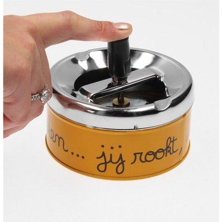 Banzaa Luxe Asbak met Draaiknop Deksel voor Binnen Oranje – 11x10x5cm | Voor het Roken van Sigaretten