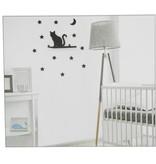 Banzaa Wandplankje met met Muurstickers voor in de Kinderslaapkamer Zwart Katje – 11x20x6cm | Houder voor aan de Muur | Metalen Wandhanger met 2 Stickervellen | Muurhanger