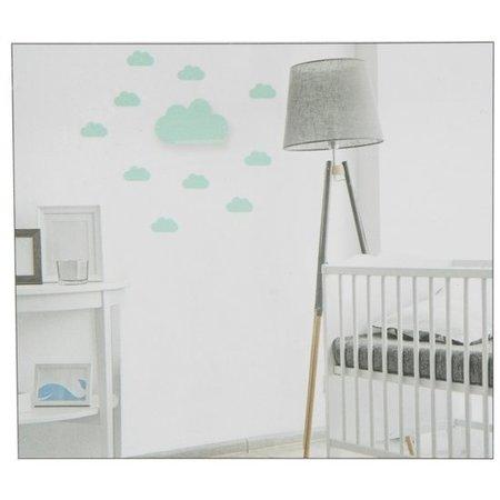 Banzaa Wandplankje met met Muurstickers voor in de Kinderslaapkamer Turquoise Wolkje – 11x20x6cm | Houder voor aan de Muur | Metalen Wandhanger met 2 Stickervellen | Muurhanger