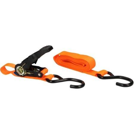 Banzaa Oranje Spanband met Stalen Ratelsluiting 5 Meter Max. 350 kg | Spanningskabel met Haken