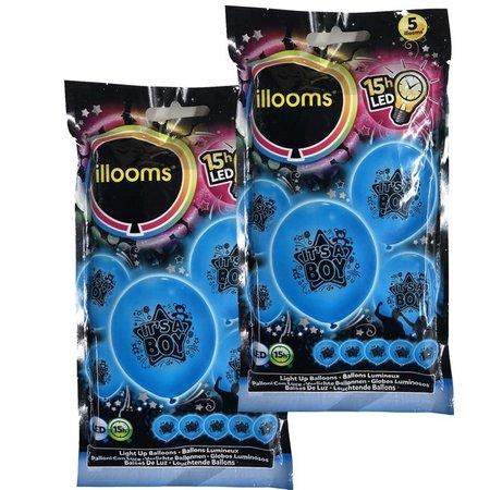 Banzaa Illooms Blauwe It's a Boy Ballonnen met LED Verlichting voor Geboorte van Zoon – 10 Stuks – 23x23x23 cm | Decoratie voor Geboorte Feest | Versiering | Ballon | Babyshower