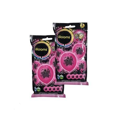 Banzaa Illooms Roze It's a Girl Ballonnen met LED Verlichting voor Geboorte van Dochter – 20 Stuks – 23x23x23 cm | Decoratie voor Geboorte Feest | Versiering | Ballon | Babyshower