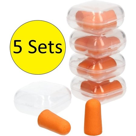 Banzaa Oranje Foam Earplugs 10 Stuks 5 Setjes van 2 in Stevig Bewaarbakje – 2x1cm | Kneed Oordopjes voor Gehoorbescherming | Oor Plugs
