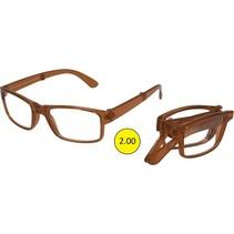 Opvouwbare Leesbril Bruin Sterkte +2,00