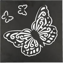 Metalen Zwart Wandpaneel met Vlinders
