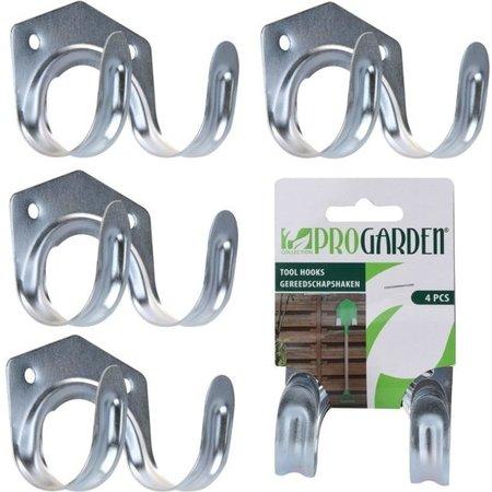 Pro Garden Pro Garden Metalen Gereedschapshaken Set voor Muurbevestiging – 5x7x4 cm – 4 Stuks Haken