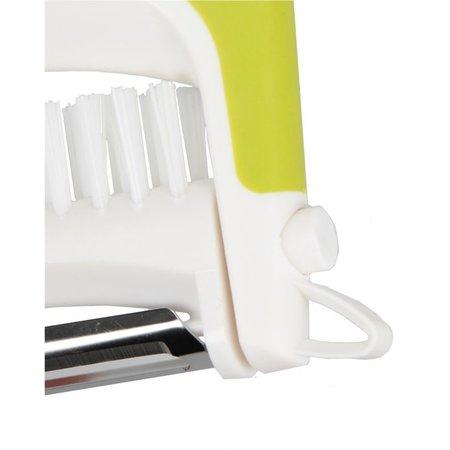 Enrico Enrico Multi Peeler 3 in 1 Aardappel Tool RVS – 8x9x2cm | Dunschiller Borstel en Ontpitter in 1 | Schilmesje met Roestvrijstalen Mesjes