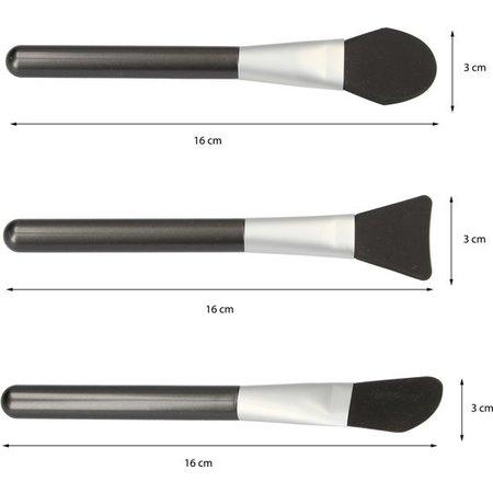 Beauty Essentials Premium 3-delige Siliconen Make-up Foundationkwasten Set met Verschillende Make Up Kwasten – 16x3x1cm – 3 Stuks