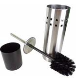 Banzaa Premium 4x RVS Toiletborstel met Houder Set + Gratis Kunststof Inzetbakje – 35x10cm – 4 Stuks | Luxe WC Borstel met Toiletborstelhouder van Roestvrij Staal | Roestvrijstalen Toiletborstel in Glanzende Houder | Eenvoudig te Reinigen