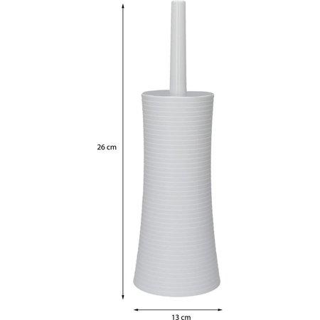 Banzaa Bathroom Solutions Wit Geribbelde Staande Toiletborstelhouder met Toiletborstel - 26x13cm - Matwit   Design Mat Witte Toiletborstelhouder met WC Borstel van Kunsstof   Toiletborstel in Houder   Eenvoudig te Reinigen