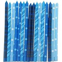 Blauwe Verjaardag Kaarsjes voor op de Taart 16 stuks 13cm
