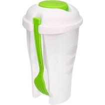 Ronde Meeneem Saladebak met Vork groen  19cm
